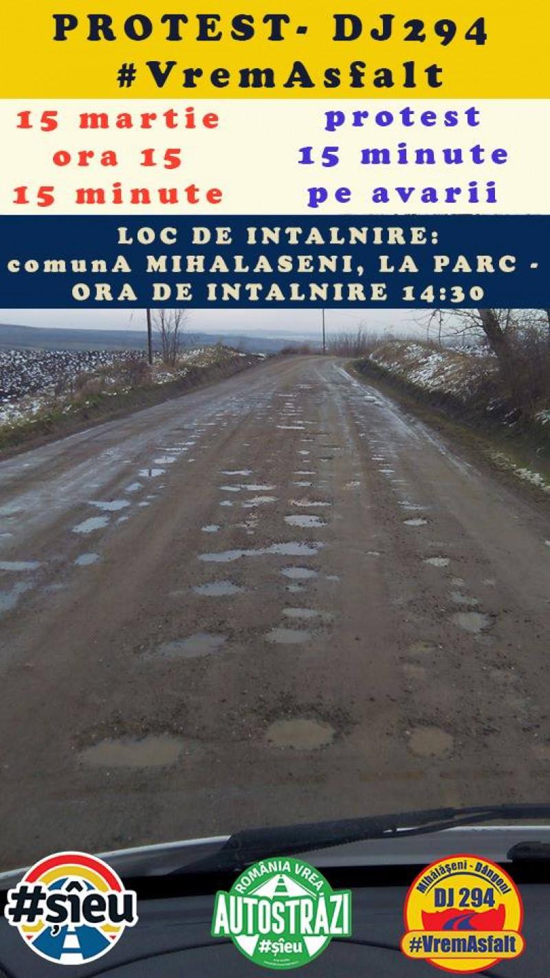 #VremAsfalt: 15 martie, ora 15.00, 15 minute pe avarii pe DJ 294 Mihălășeni - Dângeni
