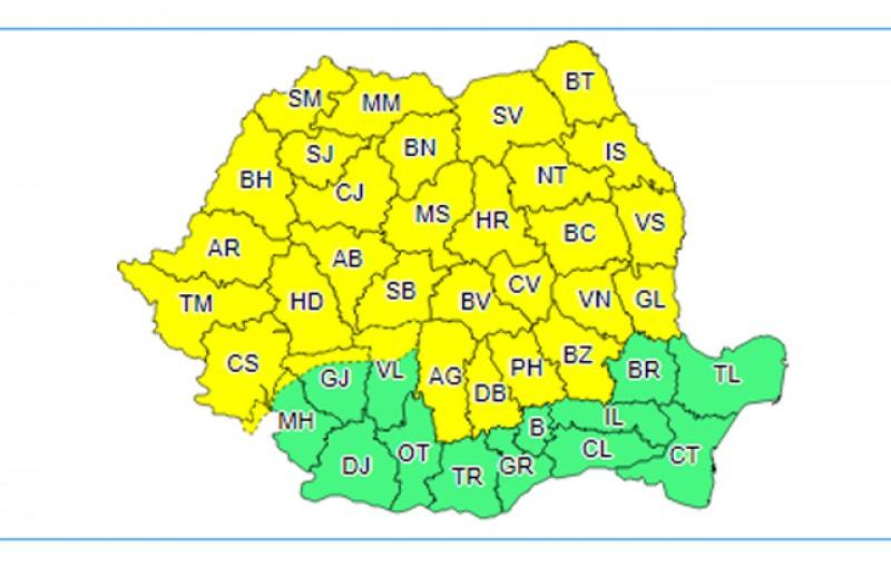 Vreme instabilă de cod galben în următoarele 24 de ore