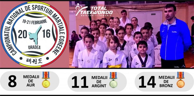 """Zeci de medalii castigate de sportivii botosaneni la """"Campionatul Național de sporturi marțiale Coreene"""""""