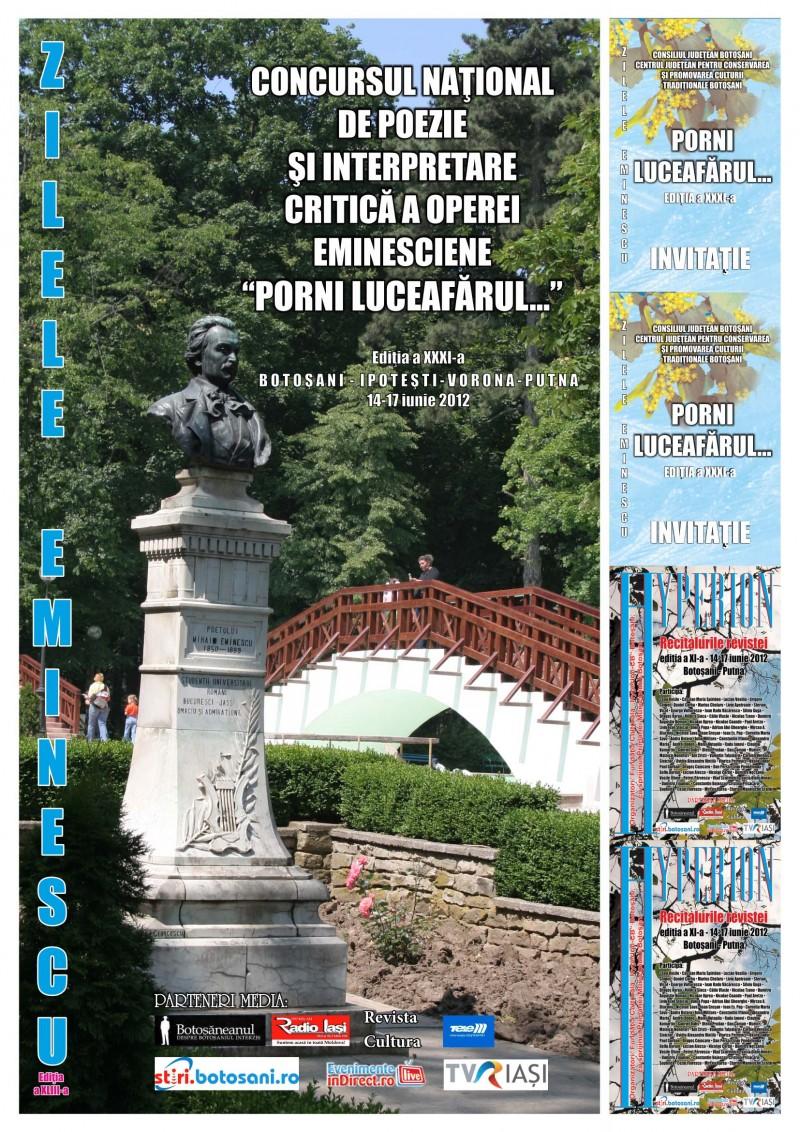 Zilele EMINESCU, 14-16 iunie - Botoşani - Ipoteşti - Putna: VEZI programul manifestărilor!