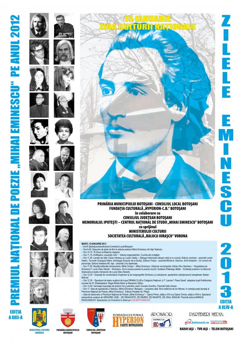ZILELE EMINESCU, Botoșani 2013: Programul manifestărilor din 14-16 ianuarie!