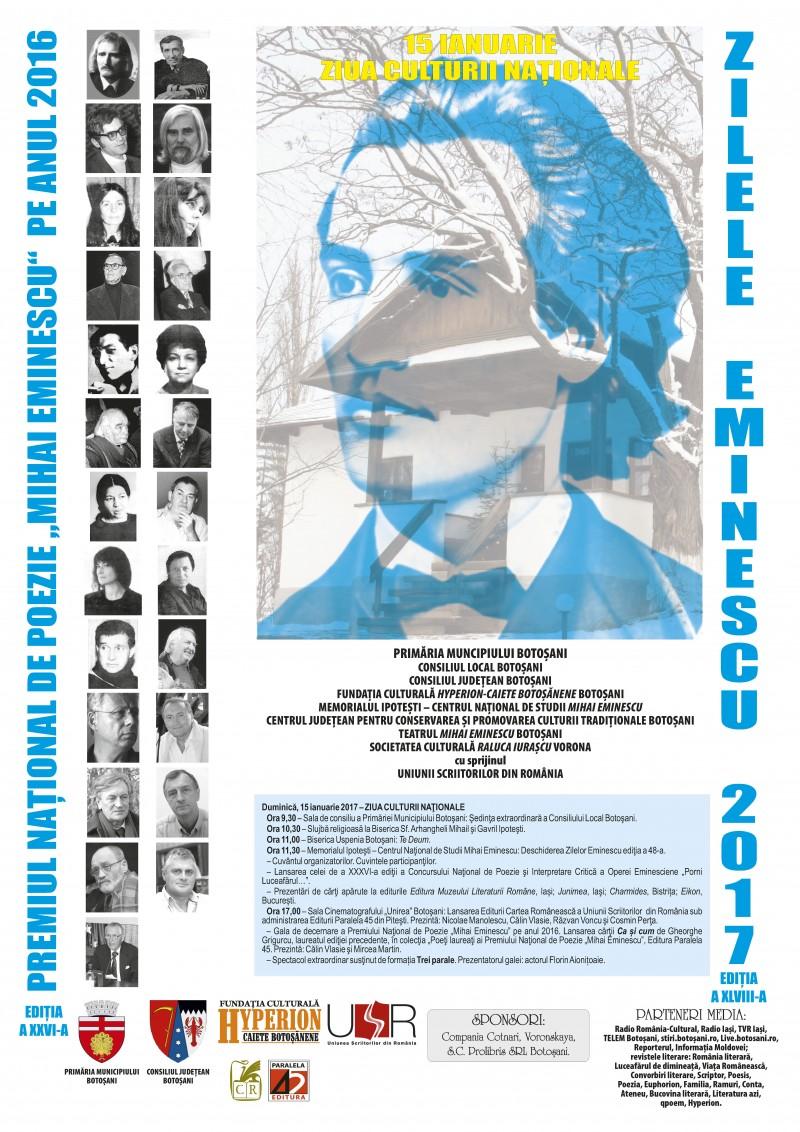 """Zilele Eminescu, ediția a XLVIII-a. Premiul Național de Poezie """"Mihai Eminescu"""", ediția a XXVI-a. PROGRAMUL manifestărilor!"""