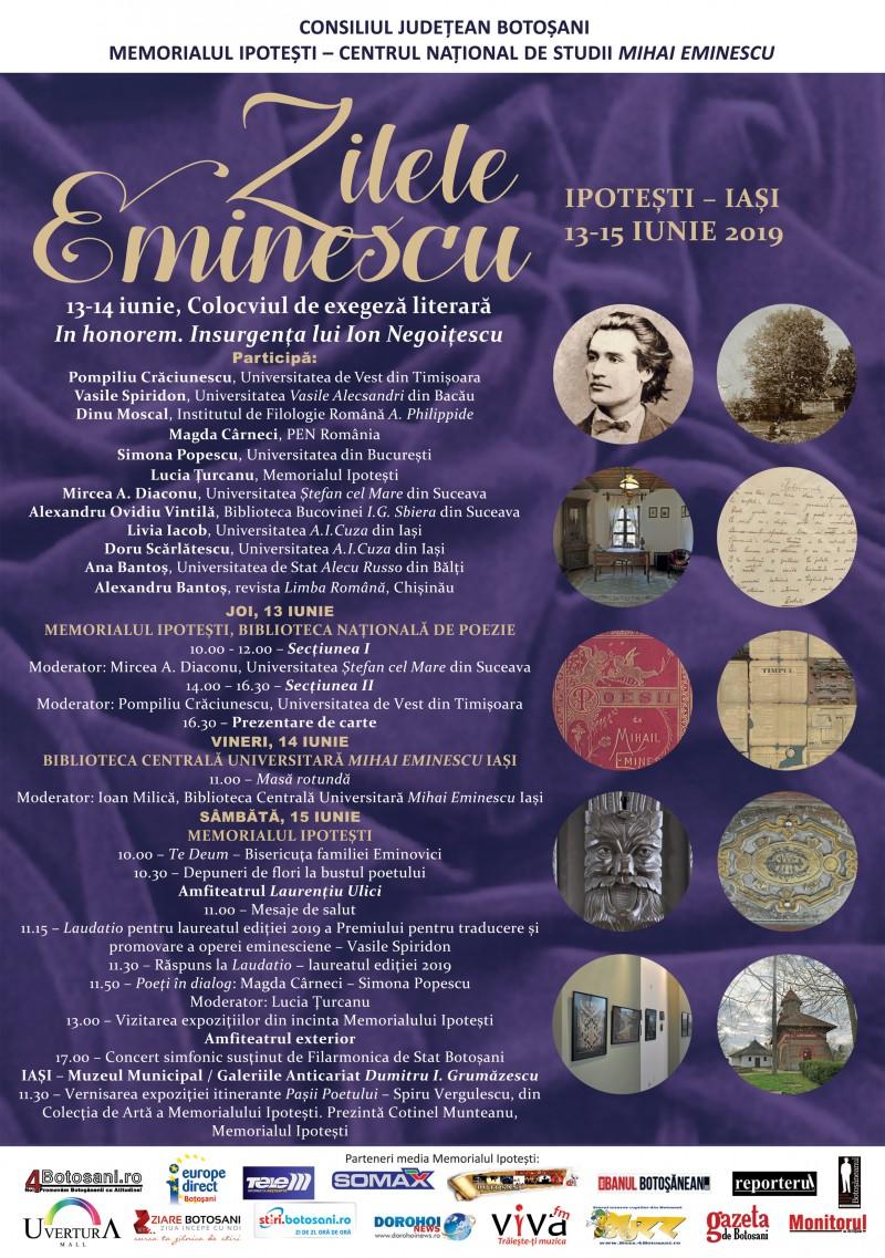 Zilele Eminescu, ediția iunie 2019, la Memorialul Ipotești - PROGRAMUL manifestărilor