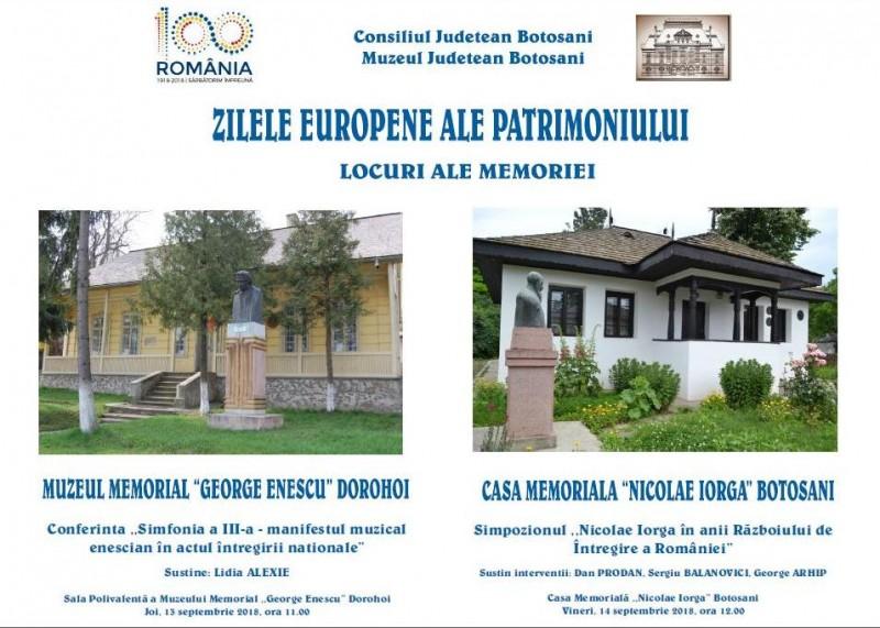 """Zilele Europene ale Patrimoniului la Botoșani, sub genericul """"Locuri ale memoriei"""""""