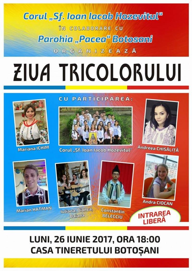 Ziua Drapelului Național va fi marcată la Botoșani printr-un concert de cântece patriotice