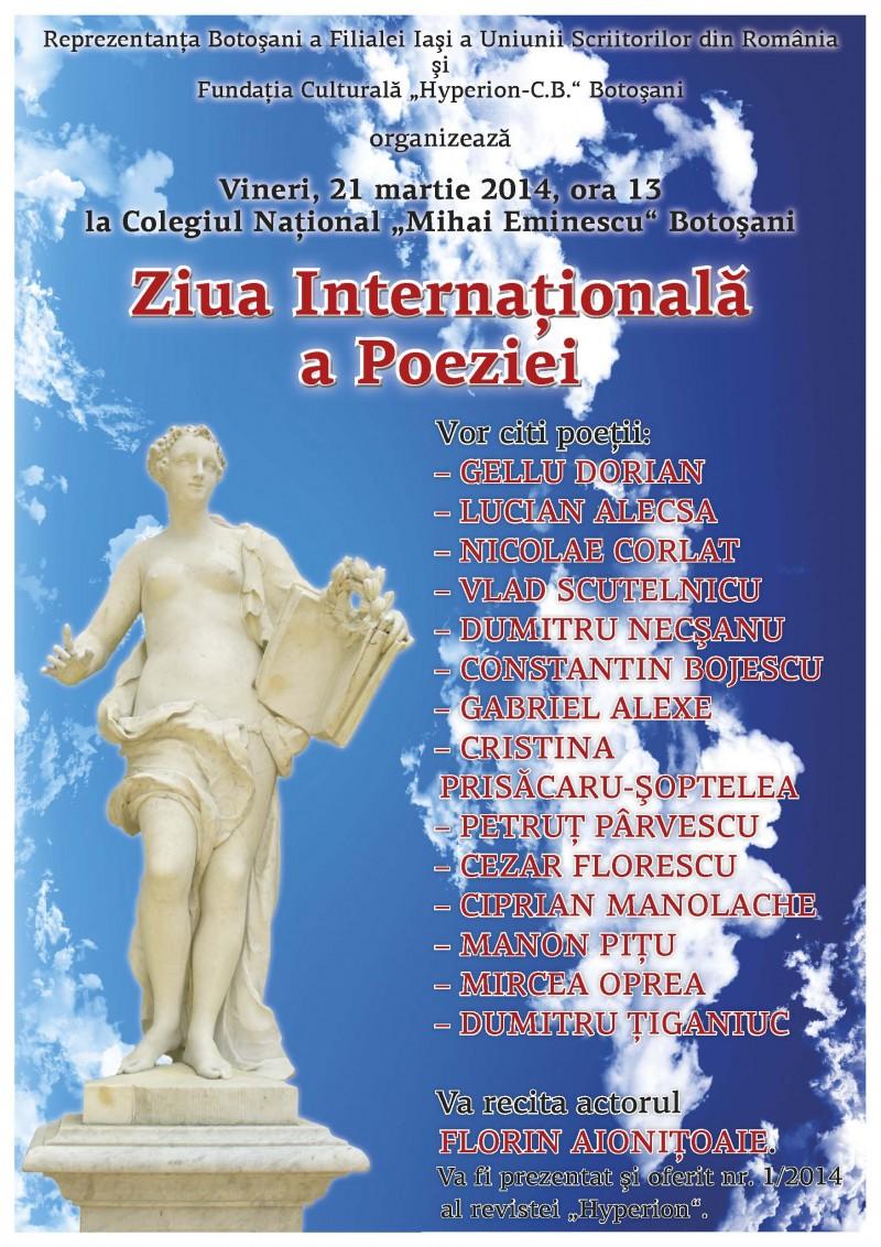 Ziua Internaţională a Poeziei, la Botoșani